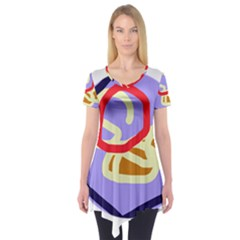 Abstract circle Short Sleeve Tunic