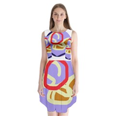 Abstract Circle Sleeveless Chiffon Dress