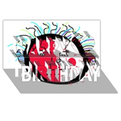 Angry transparent face Happy Birthday 3D Greeting Card (8x4)