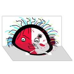 Angry Transparent Face Twin Heart Bottom 3d Greeting Card (8x4)