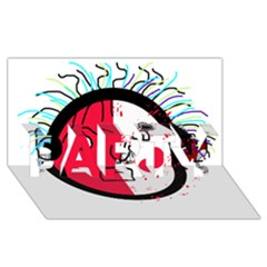 Angry transparent face PARTY 3D Greeting Card (8x4)