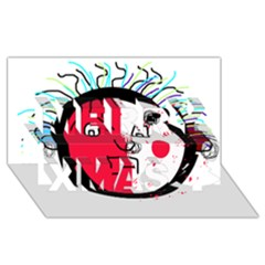 Angry transparent face Merry Xmas 3D Greeting Card (8x4)