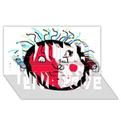 Angry transparent face Laugh Live Love 3D Greeting Card (8x4)