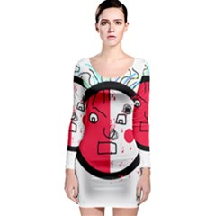 Angry transparent face Long Sleeve Bodycon Dress