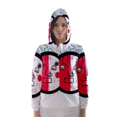 Angry transparent face Hooded Wind Breaker (Women)