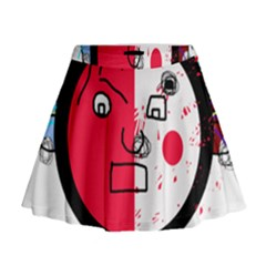 Angry Transparent Face Mini Flare Skirt
