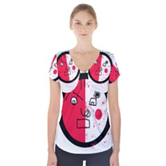 Angry Transparent Face Short Sleeve Front Detail Top
