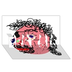 Abstract face BEST SIS 3D Greeting Card (8x4)