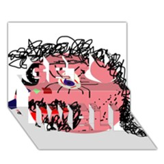 Abstract face Get Well 3D Greeting Card (7x5)