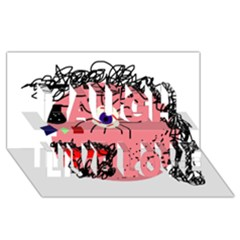 Abstract face Laugh Live Love 3D Greeting Card (8x4)
