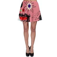 Abstract face Skater Skirt