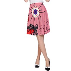 Abstract face A-Line Skirt