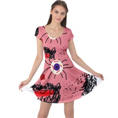 Abstract face Cap Sleeve Dresses