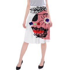 Abstract face Midi Beach Skirt