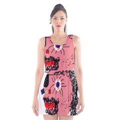 Abstract face Scoop Neck Skater Dress