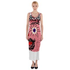 Abstract face Fitted Maxi Dress
