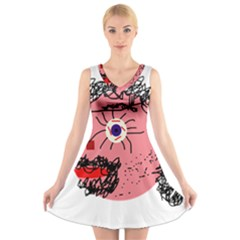 Abstract face V-Neck Sleeveless Skater Dress