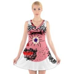 Abstract Face V Neck Sleeveless Skater Dress