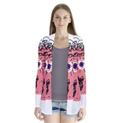 Abstract face Drape Collar Cardigan