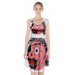 Abstract Face Racerback Midi Dress