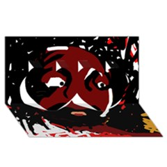 Abstract face  Twin Hearts 3D Greeting Card (8x4)