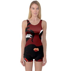 Abstract face  One Piece Boyleg Swimsuit