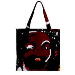 Abstract face  Zipper Grocery Tote Bag