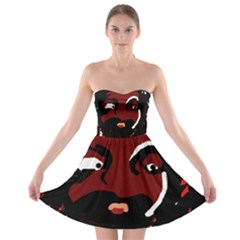 Abstract face  Strapless Dresses