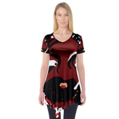 Abstract face  Short Sleeve Tunic