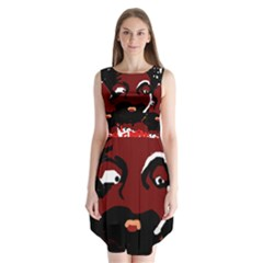 Abstract face  Sleeveless Chiffon Dress