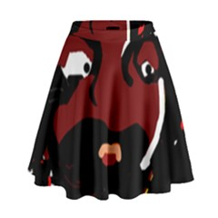 Abstract face  High Waist Skirt