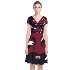 Abstract face  Short Sleeve Front Wrap Dress