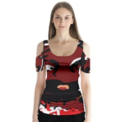Abstract face  Butterfly Sleeve Cutout Tee