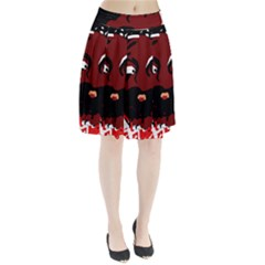 Abstract face  Pleated Skirt