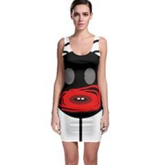 Face Sleeveless Bodycon Dress