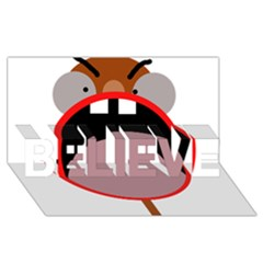 Funny face BELIEVE 3D Greeting Card (8x4)
