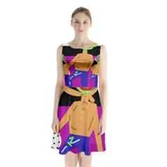 Goalkeeper Sleeveless Chiffon Waist Tie Dress