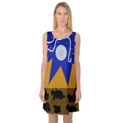 Decorative abstraction Sleeveless Satin Nightdress