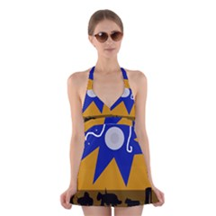 Decorative abstraction Halter Swimsuit Dress