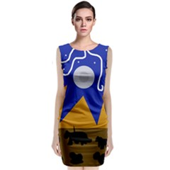 Decorative abstraction Classic Sleeveless Midi Dress
