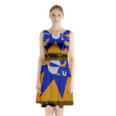 Decorative abstraction Sleeveless Chiffon Waist Tie Dress