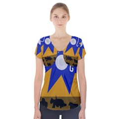Decorative abstraction Short Sleeve Front Detail Top