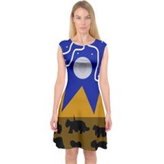 Decorative abstraction Capsleeve Midi Dress