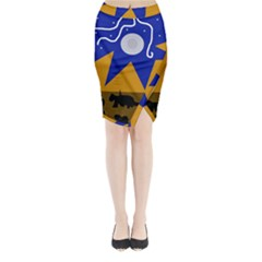 Decorative abstraction Midi Wrap Pencil Skirt