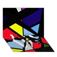 Colorful geomeric desing LOVE Bottom 3D Greeting Card (7x5)