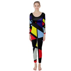 Colorful geomeric desing Long Sleeve Catsuit