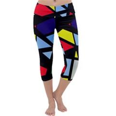 Colorful geomeric desing Capri Yoga Leggings