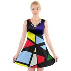 Colorful geomeric desing V-Neck Sleeveless Skater Dress