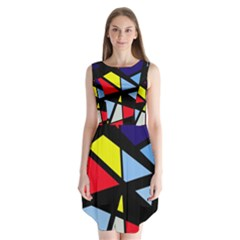 Colorful geomeric desing Sleeveless Chiffon Dress