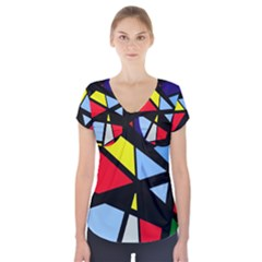Colorful geomeric desing Short Sleeve Front Detail Top